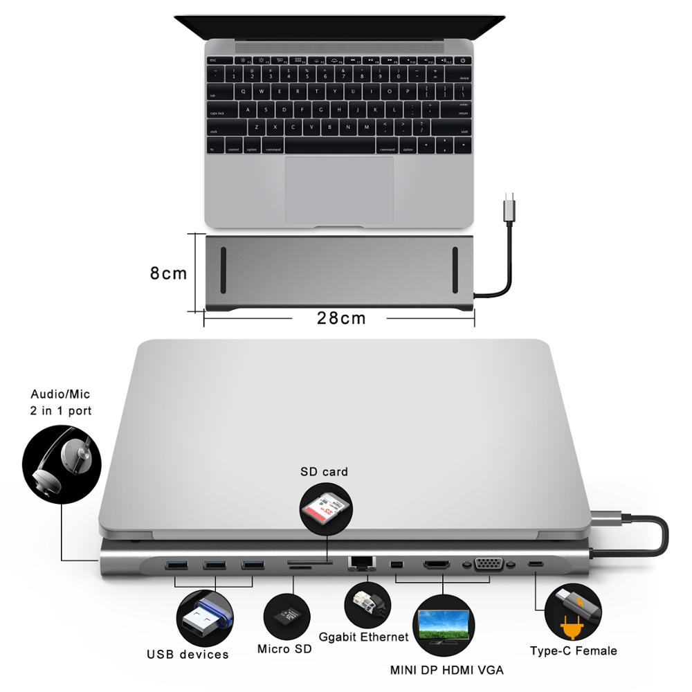 Station d'accueil type-c 3.1 moyeu Macbook Pro multifonction en aluminium vers HDMI/VGA/Mini DP/SD/TF/RJ45/USB 3.0/USB-C PD femelle-gris - 3