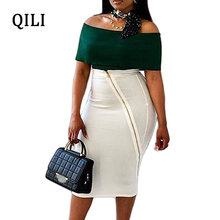 QILI Off The Shoulder Two Piece Set Dress For Women Pencil Dresses Office Lady Work Casual Party Bodycon Plus Size