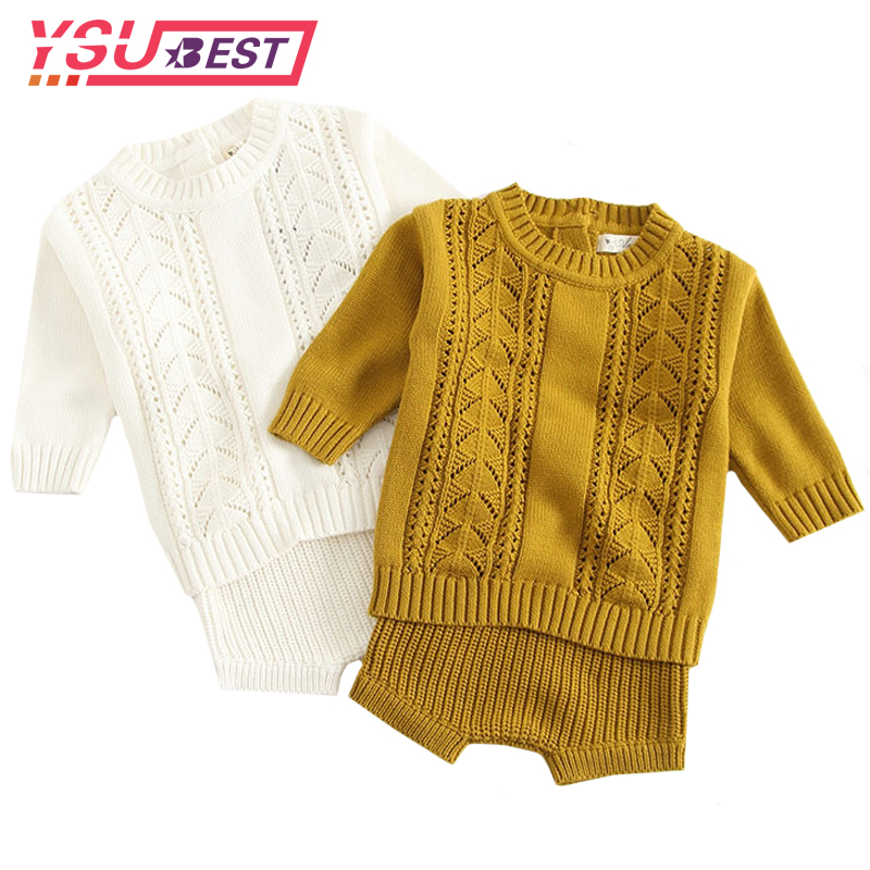 Baby Girls Boys Set Sweater 2 Pieces Pullover+ Shorts Knitted Wool Clothes Suit Hollow Out Newborn Toddler Long Sleeve ClothesBaby Girls Boys Set Sweater 2 Pieces Pullover+ Shorts Knitted Wool Clothes Suit Hollow Out Newborn Toddler Long Sleeve Clothes