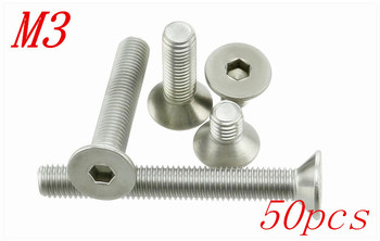 50pcs/Lot Free Shipping M3*4/5/6/8/10/12/14/16/18/20/22/25/30-50mm Stainless Steel Flat Head Drive Hexagon Socket Cap Screw Bolt image