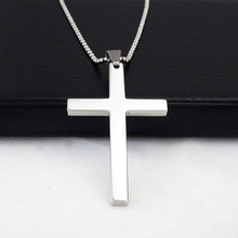 Bluelans Fashion Gift Men's 316L Stainless Steel Cross Pendant Silver Tone Chain Necklace