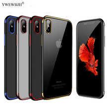 YWEWBJH Plating Case for iPhone Xr XS Max XSMax Cover Transparent Silicone Luxury  Soft TPU Phone