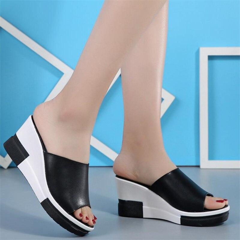 Del Cuero S060 Mujer Black Palabra Suela Cuñas 2018 De Gruesa Verano Plataforma Mujeres white Zapatillas Sandalias qEO5wg