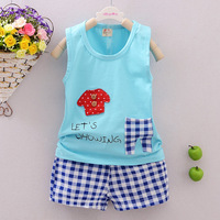 High quality cartoon baby clothes 2017 summer cotton baby clothing set 2pc for 1 2 3 4 year old boy vest clothes