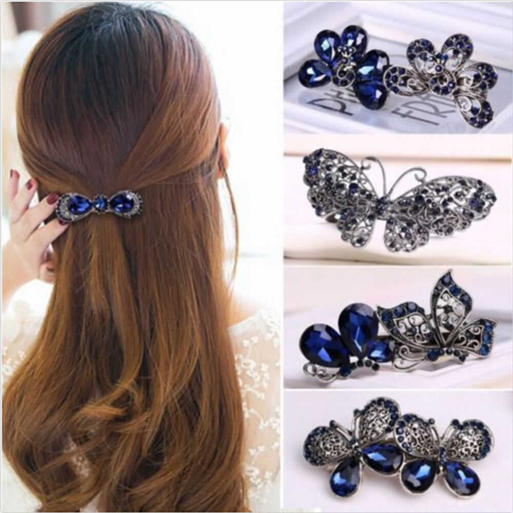 Fashion Women's Crystal Butterfly Hairpin Vintage Rhinestone Flower Hair Pin Barrette Hair Clips Hair Accessories New Arrivals