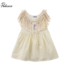 Girls Tassel Collar Summer Mini Dress Sundress Fashion Newborn Toddler Kids Baby Girl Clothing Dresses 0-24M