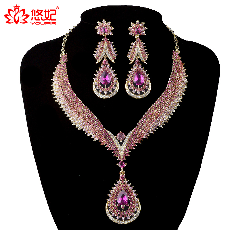 India style Crystal jewelry sets Bridal wedding Party necklace earrings Rhinestone pink color delicate jewelry for Women gift