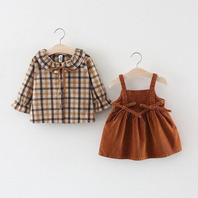 09d73b6f5 newborn infant toddler kids children baby girl clothes set plaid ...