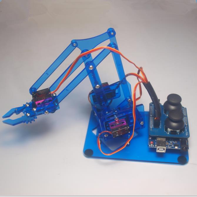 A Funssor DIY mearm joystick robot arm kit mechanical arm robot gripper acrylic joystick button controller Fast ship kb000850 diy plastic brass robot clamp gripper transparent blue multicolored s