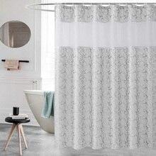UFRIDAY Elegant Shower Curtain White Gauze Polyester Fabric Waterproof Bathroom Thick Jacquard Silver Grey Bath Curtains