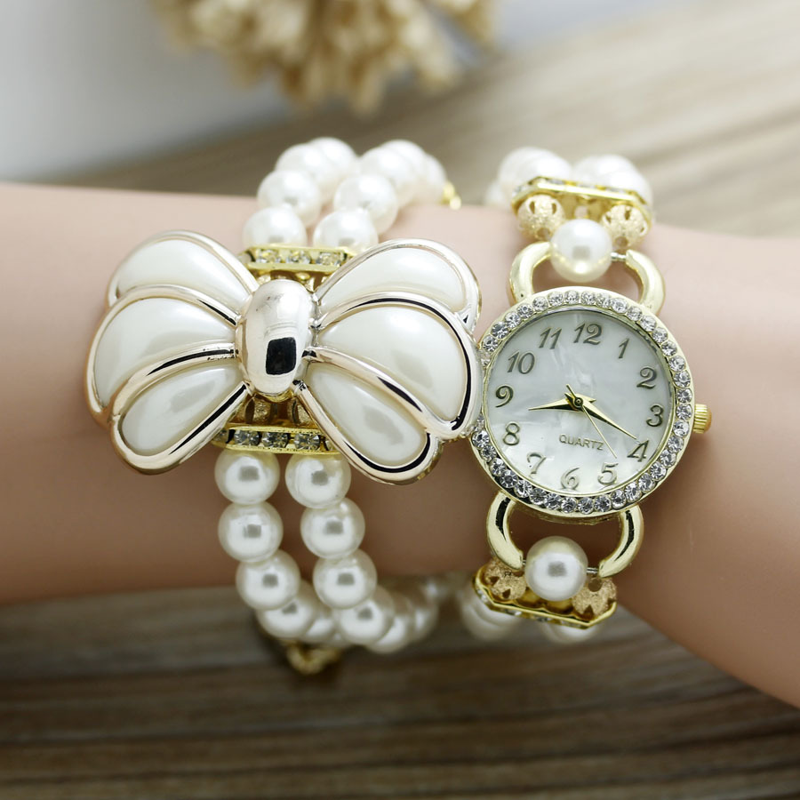 shsby New Fashion Women dress Zegarki Ladies pearl chain biały kwiat - Zegarki damskie - Zdjęcie 3