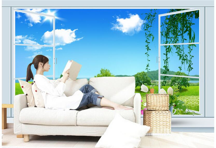 3d wallpaper custom photo non-woven mural picture wall sticker Scenery outside window grass painting 3d room murals wallpaper custom photo 3d wallpaper non woven mural wall sticker the big tree on the grass painting picture 3d wall room murals wallpaper