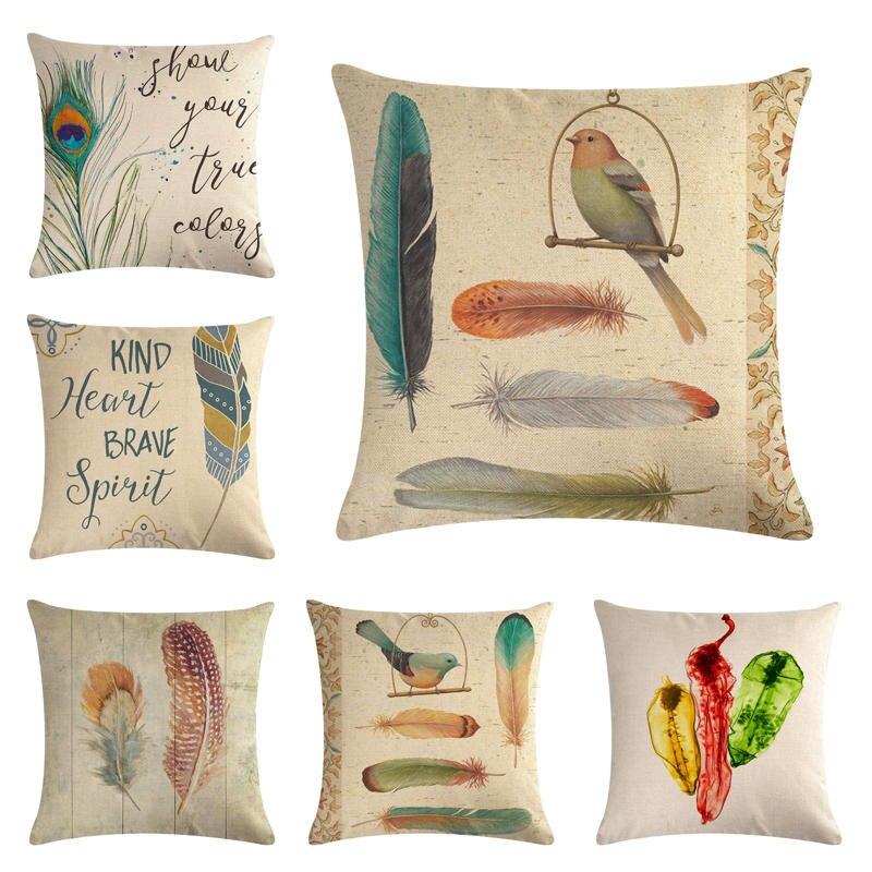 Feather--3HomerDecor Cushion Cover Throw Pillowcase Pillow Covers 45 * 45cm   Sofa Seat Cushion Decorative