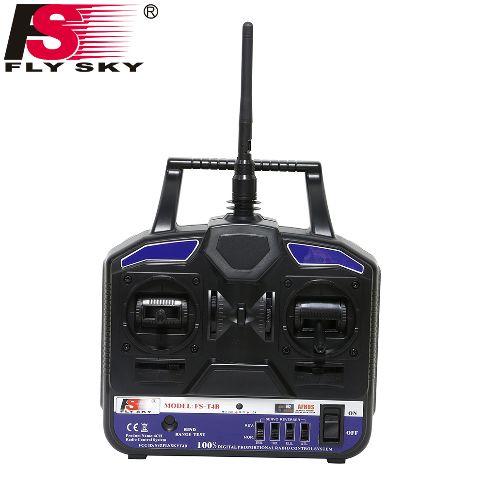 Flysky FS-T4B 2.4G 4CH Radio Control RC Transmitter + FS R6B Receiver For Heli Plane For RC Drone Quadecopter Airplanes aeromodelling usb analog cable fms simulator for flysky sm100 drone 2 4g rc