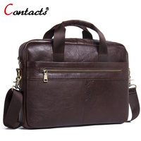 CONTACT'S Business Laptop Briefcase With Handles Brands Messenger   Bag   Men Genuine Leather   Bags   Male   Crossbody     Bags   Shoulder   Bag