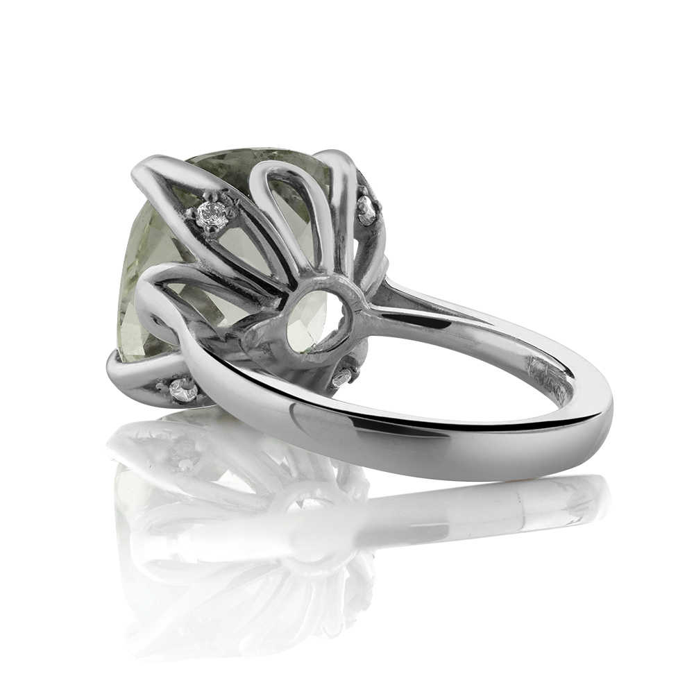 GemStoneKing 9,72 Ct подушка Шахматная натуральный зеленый прасиолит драгоценный камень кольца стерлингового серебра 925 ювелирные украшения для женщин
