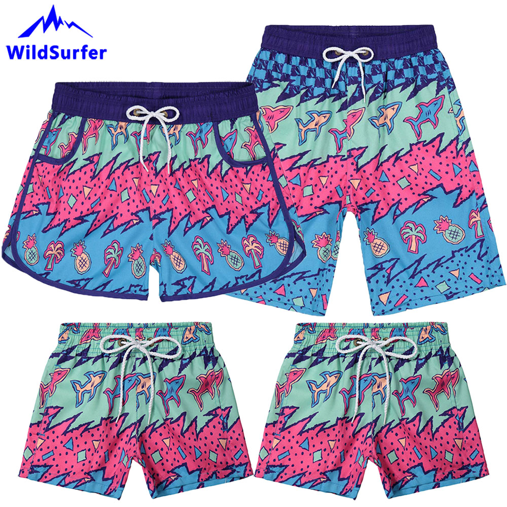 WildSurfer Family Beach   Shorts   Men Quick Drying Swimwear   Board     Shorts   Women Bermudas Surf Praia Surfing Child Swim Trunks SP63