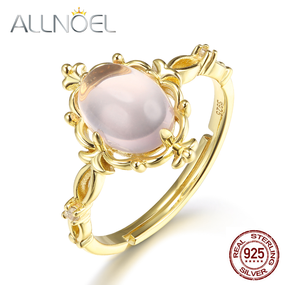 Allnoel Pure Silver 925 Rings For Ladies Rose Quartz Pure Crystal Gemstone Fantastic Jewellery 2019 Gold Plated Romantic Wedding ceremony Band