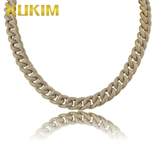 Xukim Jewelry Miami Cuban Link Chains Necklace Gold Silver Color Cubic Zircon Iced Out Hip Hop Jewelry Punk Rapper Gift Party цены