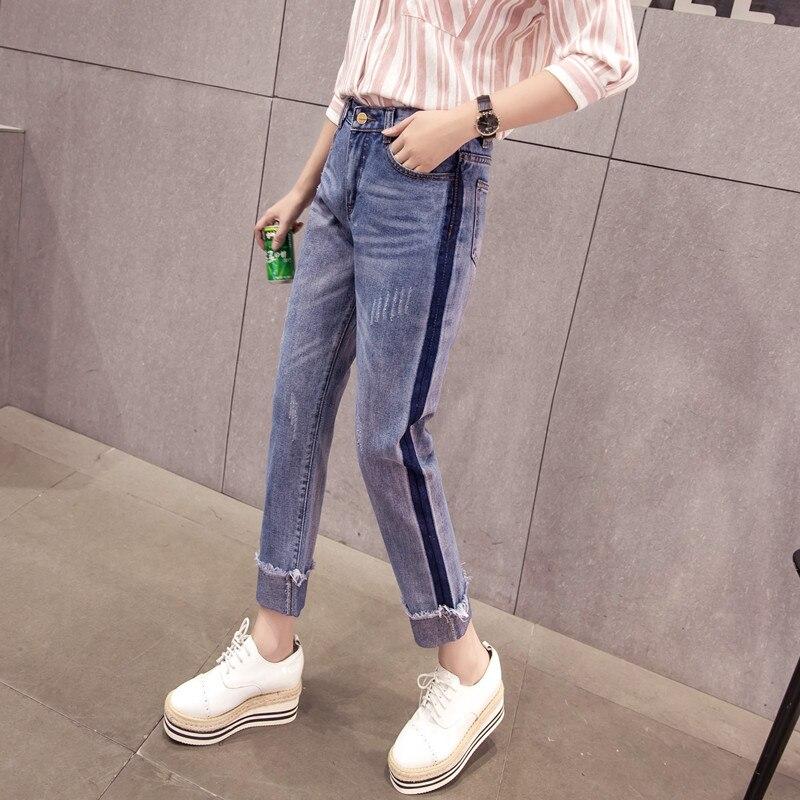S-XL 2017 spring and summer high waist boyfriend jeans for women whisker roll-up tassel women jeans denim femme (A9327)