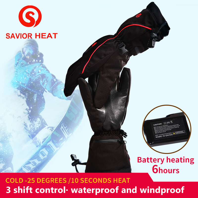 SAVIOR Winter Outdoor Sports Skiing Heated Gloves 7.4V/2200MAH Heated Lithium Battery 3 levels Control Hot Windproof Waterproof