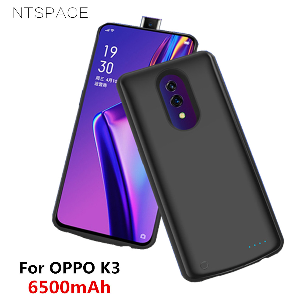 NTSPACE Extenal Battery Charger Cases For OPPO K3 Battery Case 6500mAh Ultra Slim Portable Power Bank Pack Charging Cover Case in Battery Charger Cases from Cellphones Telecommunications