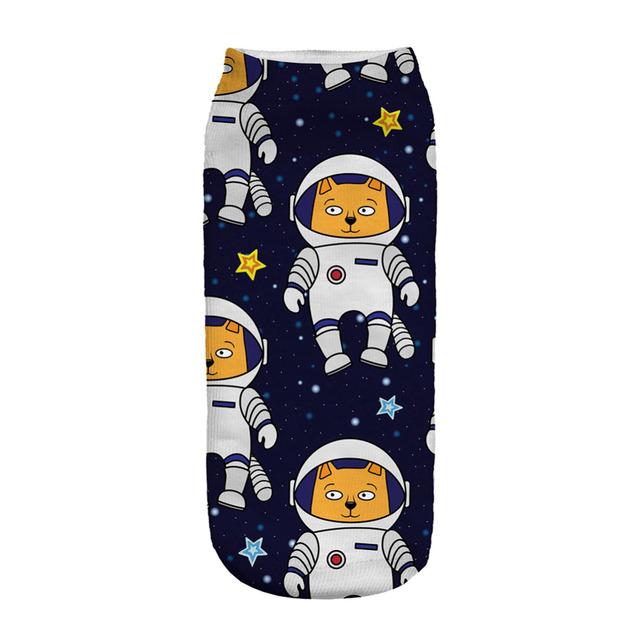 Unisex Cosmonaut Dog Printed Blue Socks