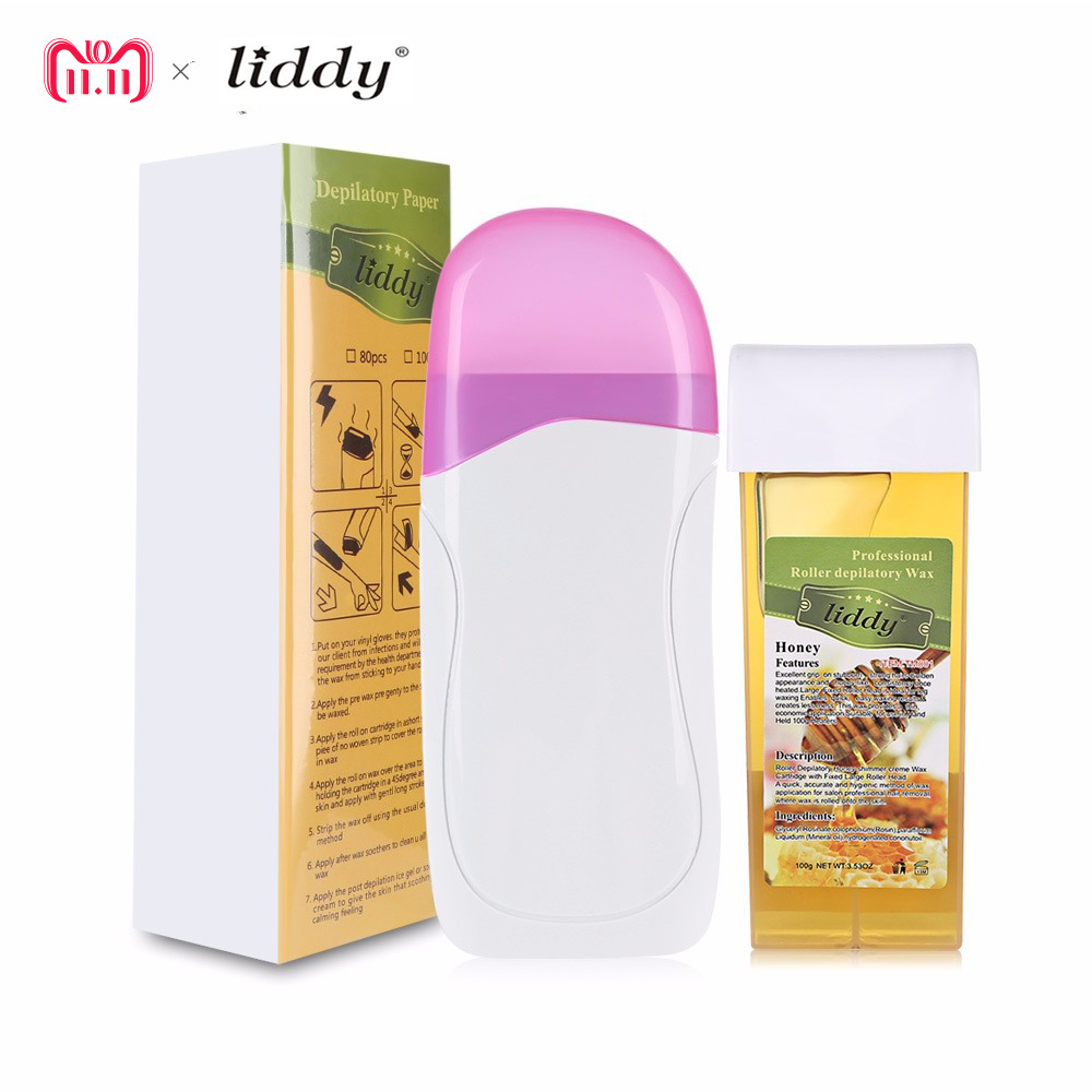 LIDDY 3 In 1 Depilatory Hair Removal Depilation Wax Strips Hair Removal With Epilator Machine Cartridge Heater Waxing Paper Set df wallace girl with curious hair paper