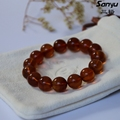 20.28g+15beads+diameter13.6mm+Natural burmese amber men bracelets certificated+Goldbrown color+burmite+handmade+unique gift M07