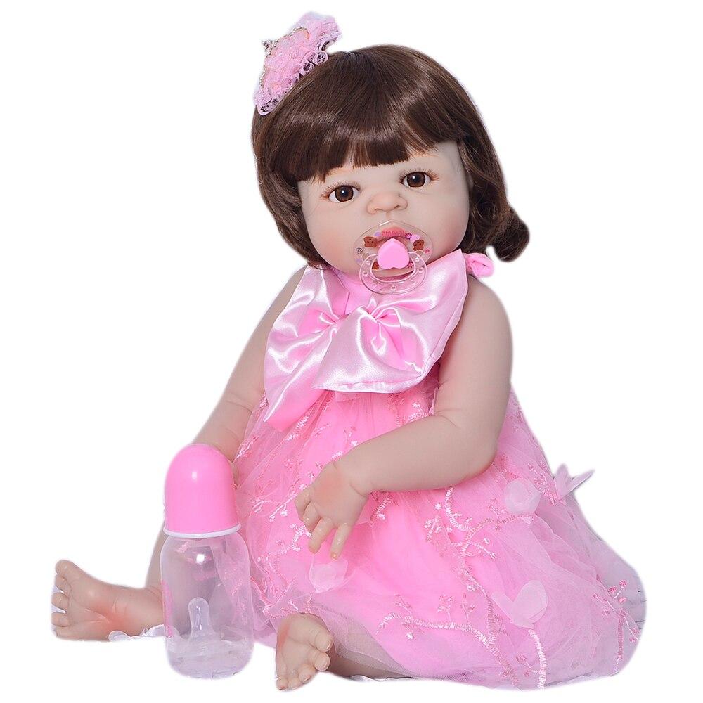 Lovely Reborn Bonecas Menina Toys 23 Full Silicone Vinyl Newborn Dolls Realistic Babies Reborn Dolls Lifelike Princess GiftsLovely Reborn Bonecas Menina Toys 23 Full Silicone Vinyl Newborn Dolls Realistic Babies Reborn Dolls Lifelike Princess Gifts