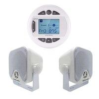 Лодка Радио морской Bluetooth стерео аудио FM AM MP3 плеер + 4 дюймовый морской Водонепроницаемый поле колонки для Лодка ATV UTV