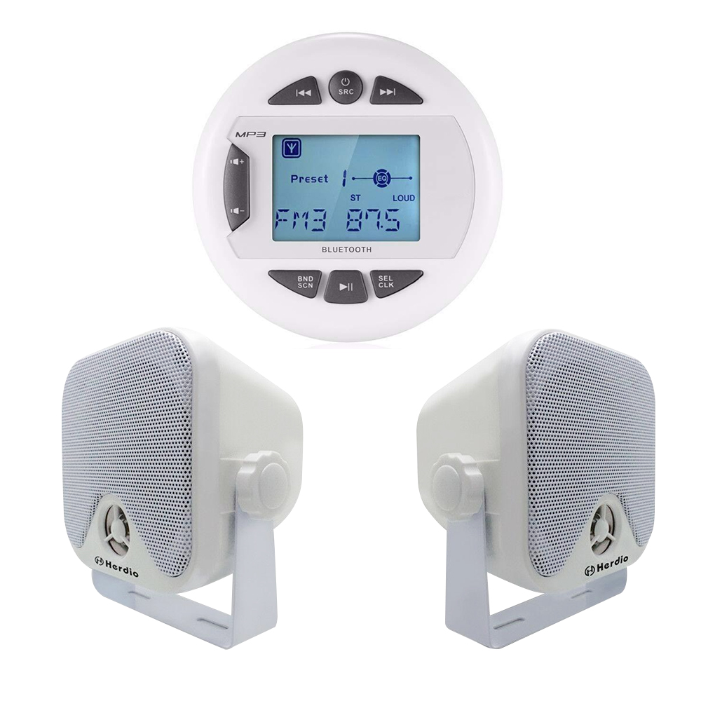 Barco Marinha Rádio FM AM MP3 Player de Mídia Digital de Áudio Estéreo Bluetooth + 4 polegada Marinha Caixa De Alto-falantes À Prova D' Água Para barco ATV UTV