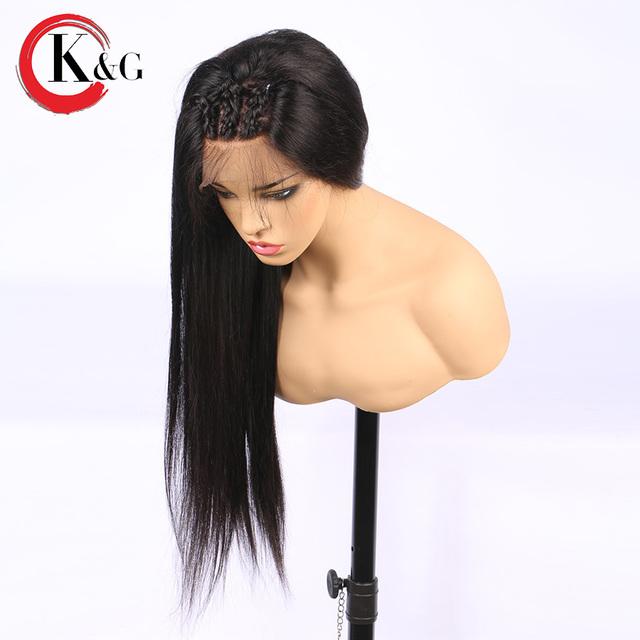 KUNGANG Droite Avant de Lacet de Cheveux Humains Perruques Partie Libre Noeuds Blanchis Brésiliens Remy Cheveux Perruque Avec Bébé Cheveux Pour Les Femmes 1