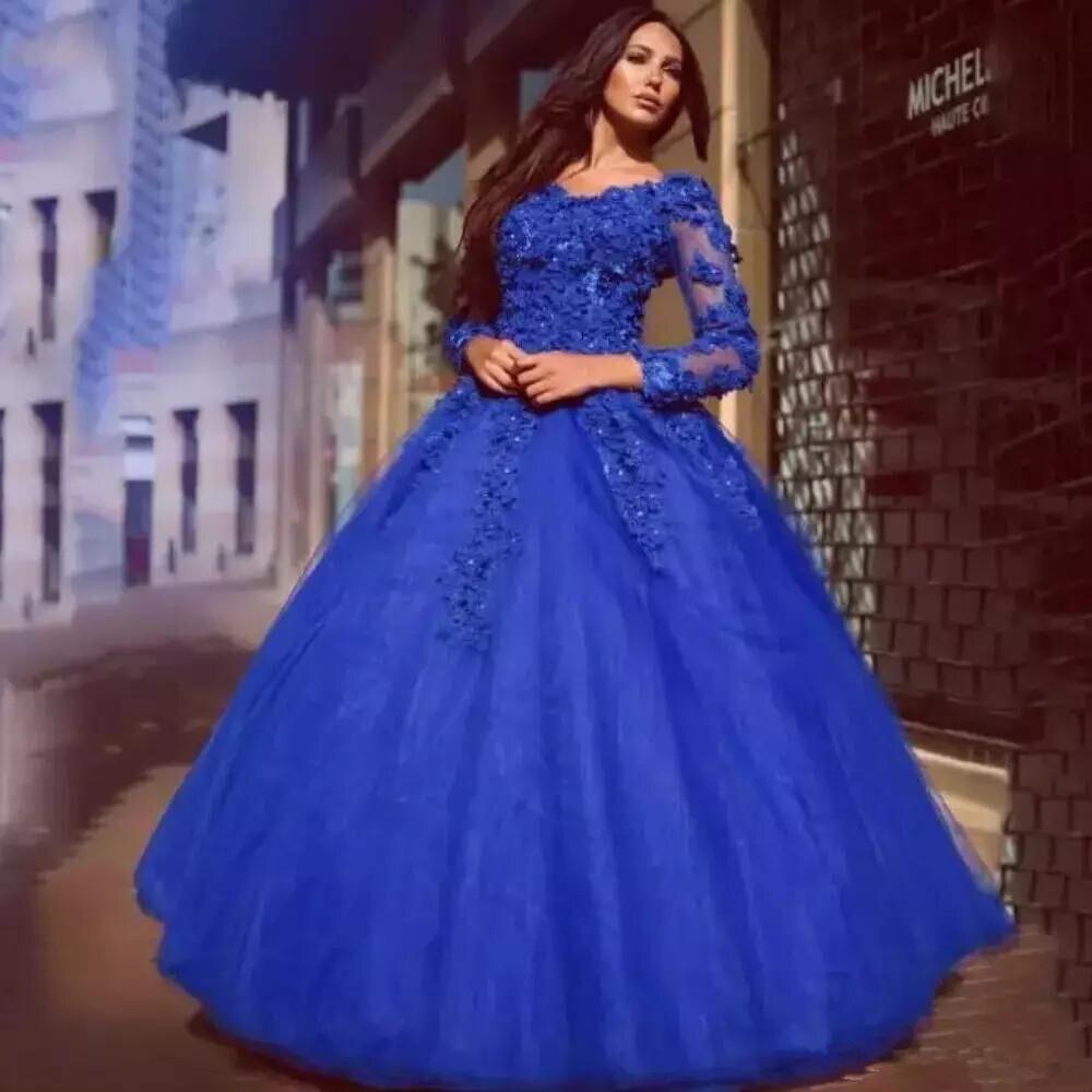 Cendrillon dentelle Quinceanera robes bleu Royal col en V doux 16 robe de bal robes de bal Floral appliqué manches longues robe de bal