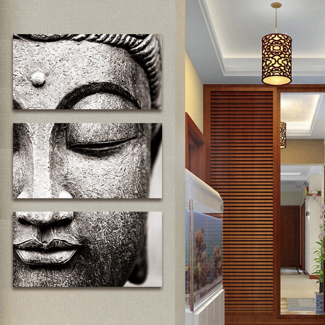 Canvas Painting Wall Art Gray 3 Panel Modern Large Oil Style Buddha Print On Home Living Room