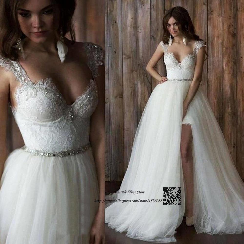 Unique 2 Piece Wedding Dresses Detachable Skirt Lace Bride