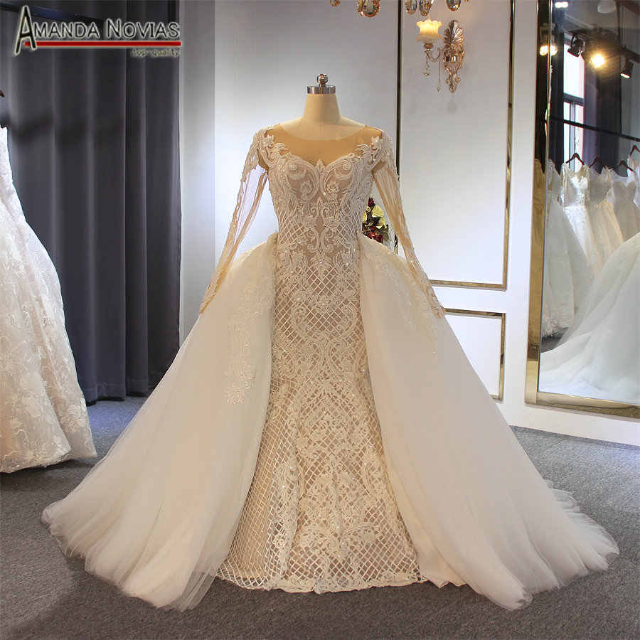 Fashion hot sale wedding dress 2019 with detachable skirt mermaid dress