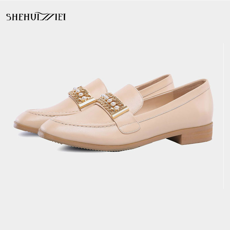 SHEHUIMEI Brand Women Casual Shoes Square Toe Basic Oxford Shoes Women Flats Genuine Leather Slip on Classic Loafers Big Size 43 shehuimei brand 2018 women flats patent leather oxford shoes woman loafers vintage british style round toe handmade casual shoes