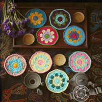 DIY Zakka Multi Colours Cup Mat Coaster Hand Hooked Fashion Crochet Blanket Cushion Thermal Felt Placemat