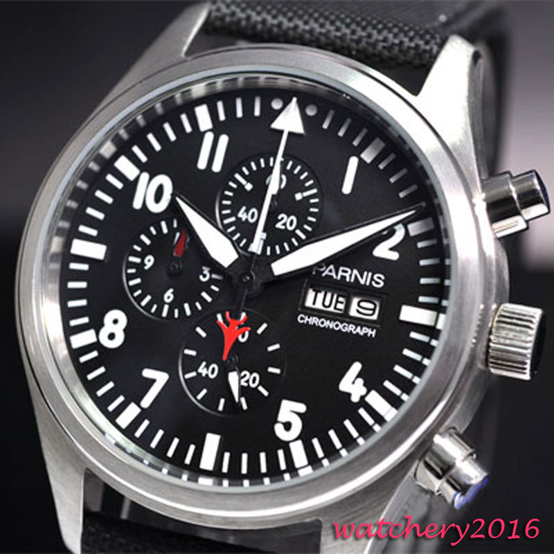 42mm parnis Black Dial Chronograph Complete Calendar Stainless Steel vintage style day date quartz Full chronograph mens Watch цена
