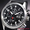 42mm Parnis Black Dial Chronograph Complete Calendar Stainless Steel Vintage Style Day Date Quartz Full Chronograph