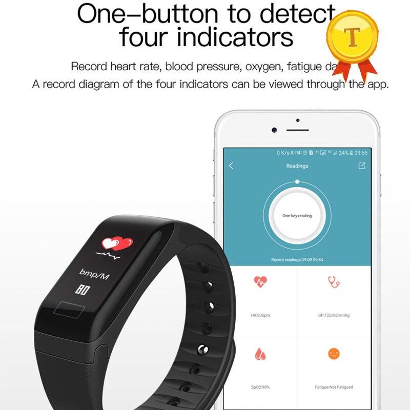 Accurato Miglior Schermo A Colori Fitness Tracker Wristband Heart Rate Di Pressione Sanguigna Monitor Di Ossigeno Rosso Blu Banda Intelligente Pedometro Braccialetto Design Moderno