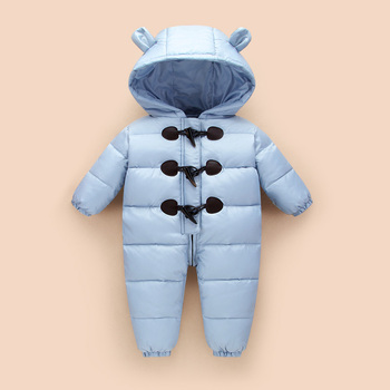 2018 Lovely winter baby snow wear 90% duck down jackets for infant coats winter overalls snowsuit with Ear jumpsuit baby clothes