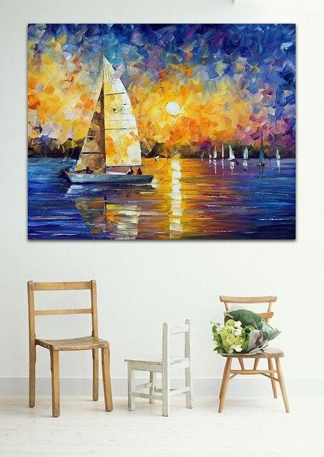 segelboot drift on sunset ocean 100 handgemalte moderne. Black Bedroom Furniture Sets. Home Design Ideas