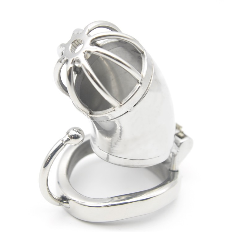 Stainless-Steel-Male-Chastity-Large-Cage-with-Base-Arc-Ring-Devices-C278