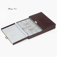New 1pcs Jewelry Display Casket Brown Jewelry Organizer Earrings Ring Case For Jewelry Necklace Gift Packaging