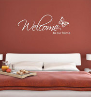 Stickers Muraux Home Decor 'Welcome To Our Home' Text Patterns Wall Stickers Home Decor Living Room Decorative Stickers 2