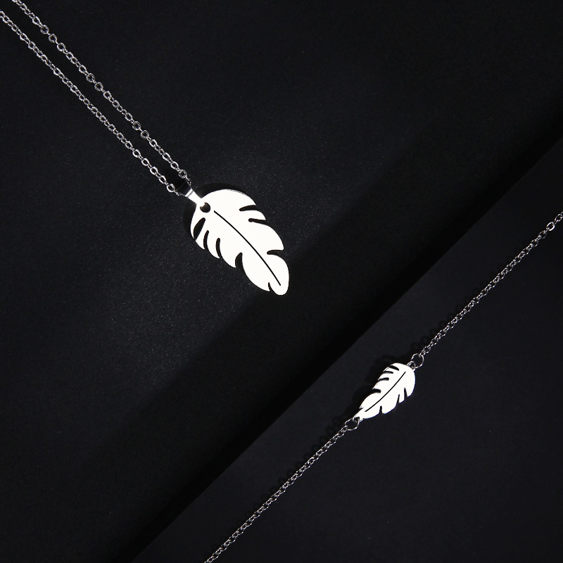 CACANA Stainless Steel Sets For Women Feather Shape Necklace Bracelet Earring Jewelry Lover's Engagement Jewelry S379 10