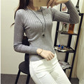 2016 Autumn  version of the new Slim was thin vertical stripes wild short paragraph long-sleeved sweater bottoming female