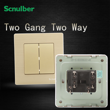 16A luxury ch&agne double way metal wire double gang wall switch : wiring double switch - yogabreezes.com